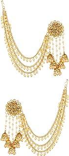 Bindhani Fashion Bollywood Jewelry التقليدية الزفاف عرس العروس عرس العروس مطلية بالذهب Kundan Pearl Drop Jhumka Jhumki Hea...
