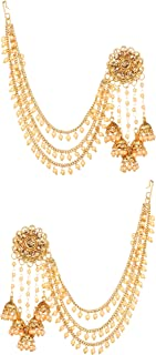 Bindhani Fashion Bollywood Jewellery Traditional Ethnic Bridal Bride Wedding Bridesmaid Gold Plated Kundan Pearl Drop Jhum...