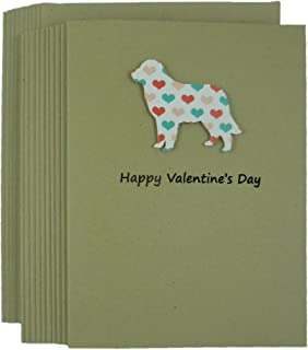 Golden Retriever Dog Valentine's Day Greeting Card 10 pack Dog Silhouette with Colored Hearts Handmade Kraft Paper