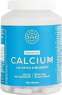 Aarja Health - Calcio Aquamin & Vitamina D3 y K2-120 cápsulas - ayuda a mejorar la Biodisponibilidad - Sin gluten y sin lactosa, Vegano