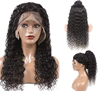 Water Wave Human Hair Lace Front Wigs with Baby Hair 130% Density 100% Unprocessed Pre plucked Glueless Virgin Remy Hair Wavy Weave with Natural Hairline for Black Women (8 inch,Natural Color)