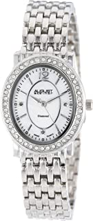 August Steiner Women's Dress Watch - Crystal Bezel around Mother of Pearl Dial with Diamond Hour Markers on a Bracelet