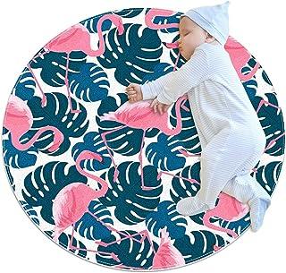 rosa flamingos och monsteraböv, rund matta överkast matta mjuk mode look tvättbar matta inomhus tipi tält dörrmatta