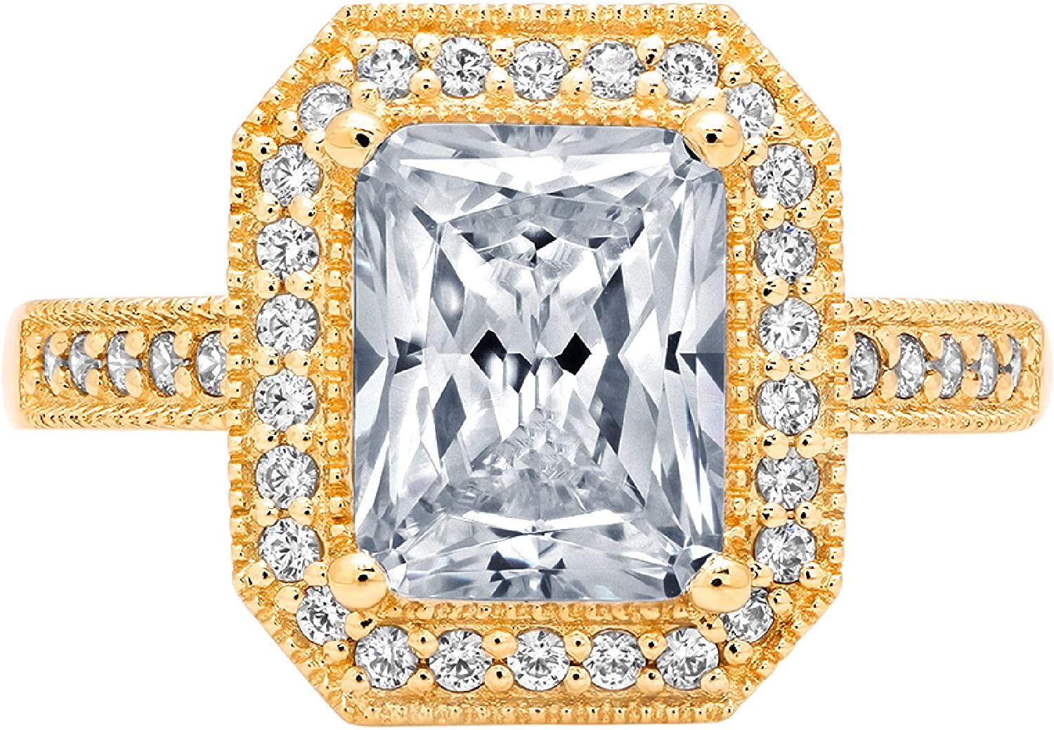 2.84ct Brilliant Emerald Cut Solitaire with Accent Halo Flawless Designer Genuine Natural Light Blue Aquamarine Gemstone Ideal VVS1 Engagement Promise Anniversary Bridal Wedding Ring 14k Yellow Gold