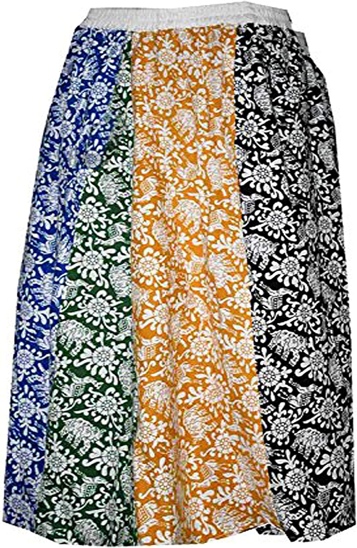 Lakkar Haveli Women's Patchwork Skirt Hippie Casual Baggie Ethnic Beach Wear Gypsy Plus Size