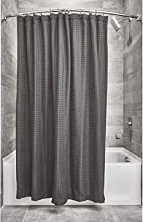 iDesign Waffle Weave Fabric Bathroom Shower Curtain, 72 x 72 Inches - Charcoal