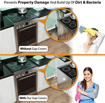 Linda's Silicone Stove Gap Covers (2 Pack), Heat Resistant Oven Gap Filler Seals Gaps Between Stovetop and Counter, E...