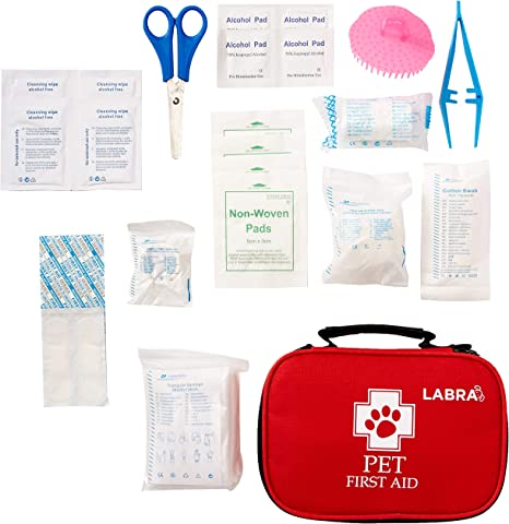 Pet Supplies Labra 28 Piece Pet Canine K9 Dog First Aid Kit For Emergencies Safety When Walking Running Hiking Camping Injuries Cuts Wounds Scrapes Amazon Com