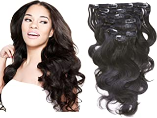 brazilian body wave clip in hair extensions