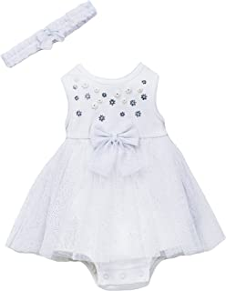 Little Me One Piece Tutu Dress and Headband for Casual, Easter, Special Occasion