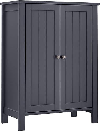 VASAGLE Bathroom Floor Storage Cabinet with Double Door Adjustable Shelf, 23.6 x 11.8 x 31.5 Inches, Gray UBCB60GY