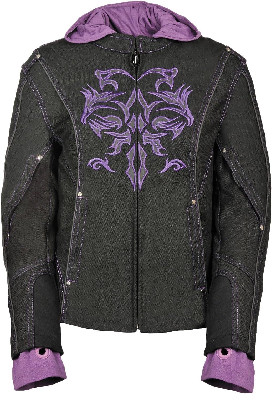 NexGen Women's Doulon 1300 Nylon Twill Fleece Jacket (Black Purple, XLarge)