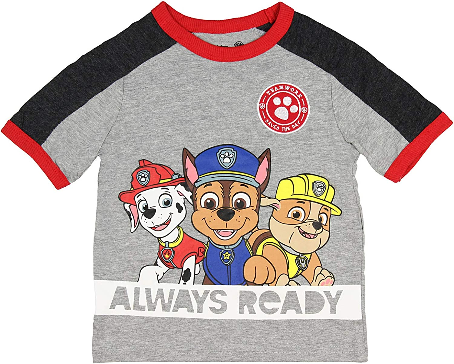 Paw Patrol Toddler Boys Always Ready Short Sleeve Graphic T-Shirt - Chase, Rubble and Marshall