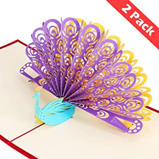 2 Pack 3D Pop Up Cards, Wimaha Peacock Thank You Card Greeting Cards in Chinese Paper Cutting Creative Pop-up Cards,15cm x 15cm