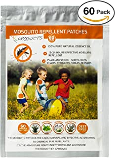 Mosquito Patch: 60 Count, PREMIUM ENHANCED POTENCY, 100% Natural Insect Repellent Patch, Lasts 24 Hours, Deet Free, With Citronella, Peppermint, Lavender, and Eucalyptus. Great for Outdoors!