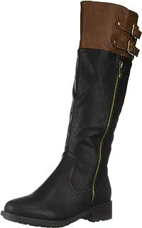 DREAM PAIRS Women's BRADENN Boot, black camel, 7 B(M) US M US
