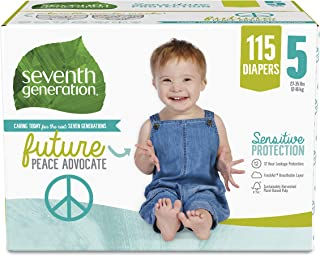 Seventh Generation Baby Diapers for Sensitive Skin, Size 5, 115 count (Packaging May Vary)