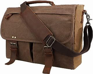 emissary Laptop Messenger Bag (15.6'' Computer Bag) Canvas and Leather Shoulder Briefcase, Brown 15.6'' Laptop Bag (Brown) - model-g-543