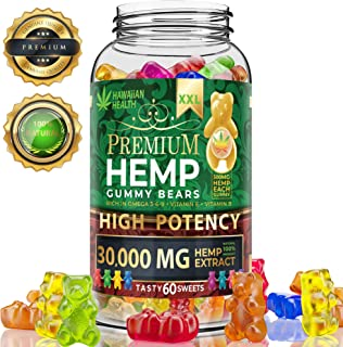 Hemp Gummies Premium XXL 30000 MG High Potency - 500 Per Fruity Gummy Bear with Hemp Oil | Natural Hemp Candy Supplements for Pain, Anxiety, Stress & Inflammation Relief | Promotes Sleep & Calm Mood