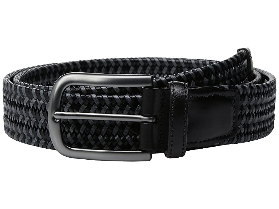 Torino Leather Co. 35mm Italian Mini Strand Woven Stretch Leather (Black/Grey) Men