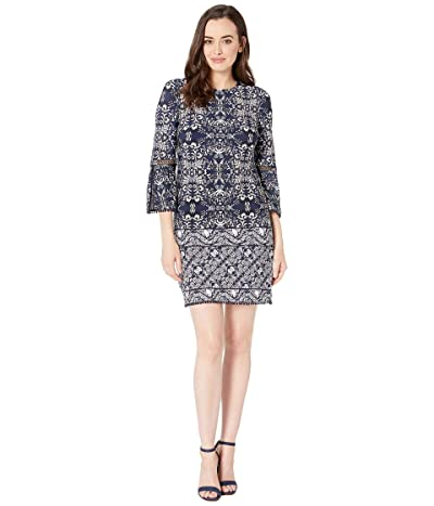 Vince Camuto Printed ITY T-Body Dress with 3/4 Sleeve and Trim (Navy Multi) Women