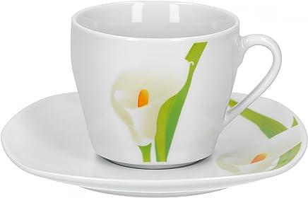 Preisvergleich für Van Well 2-TLG. Kaffeetassen-Set Calla, Kleine Tasse 180 ml + Untertasse, weißer Blütenkelch, Pflanzendekor, edles Porzellan-Geschirr, Gastronomie