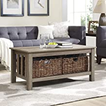 WE Furniture AZ40MSTAG Rustic Wood Rectangle Coffee Accent Table Storage Baskets Living Room, 40 Inch, Driftwood
