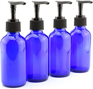 4-Ounce Cobalt Glass Pump Bottles (4 Pack), for Aromatherapy, Lotions, Soaps & More