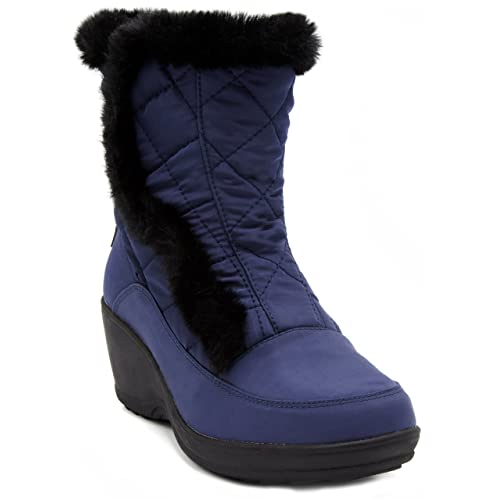 London Fog Womens Tower Waterproof Cold Weather Snow Boot Wedge