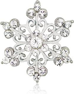 Akianna Silver-Tone Swarovski Element Crystals Scroll Snowflake Pin Brooch