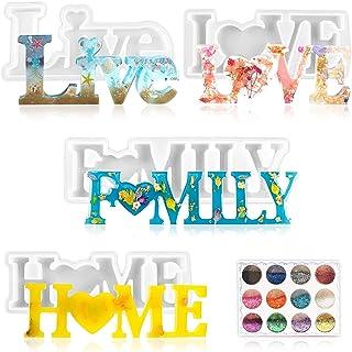 Moule en silicone en forme de lettres, Love/Home/Famille/Live en résine époxy, moules à couler en résine de coulée, moules...