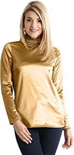 Womens Turtleneck Shirt Metallic Party Top - Made in USA
