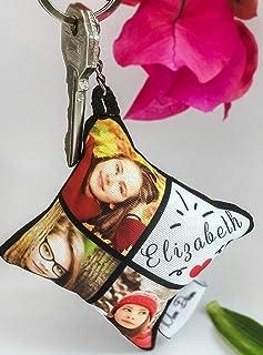 Llavero personalizado con fotos, imágenes, y/o texto en forma de almohadita (sublimado, medidas 7x7 cm, 1 unidad, collage)