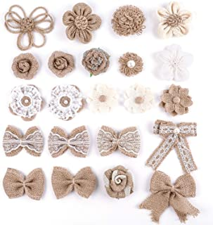 Kingrol 22 Pack Natural Burlap Flowers and Burlap Bowknots, Burlap Rose Flowers, Vintage Burlap Rustic Flowers for DIY Craft Wedding Party Decoration, 16 Styles