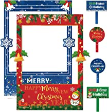 2 in 1 Christmas Photo Booth Props Frame Party Supplies -Xmas New Year Party theme Decorations Supplies
