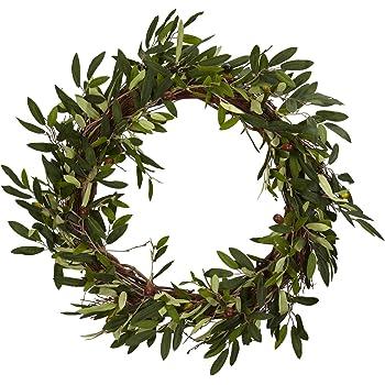 22-Inches Door Wreath Dseap Olive Wreath for Front Door Green