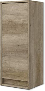 Arkitmobel 305090H – Mueble lavabo Dakota, columna de baño colgante 1 puerta acabado en color Nordik, Medidas: 30 X 74 X 25,5 cm de fondo