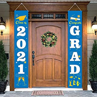 DegGod Graduation Party Porch Sign Set Decorations, Class of 2021 & Congrats Grad Banners Hanging Flags for Indoor and Out...