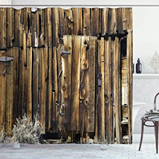 Ambesonne Rustic Shower Curtain, Oak Barn Siding Door Cracked Rusted Hinges Dated Timber Mansion Farmland Nobody Design, Cloth Fabric Bathroom Decor Set with Hooks, 84