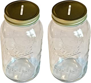 2 Mason Jar with Slotted Lid Insert Wide Mouth Half Gallon 64oz Piggy Bank for All Ages (Pack of 2)