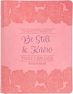 Be Still & Know, Psalm 46:10, Pink Large Faux Leather Zippered Planner for 2020