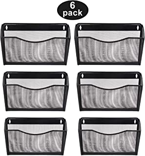 EasyPAG Mesh Office Single Pocket Wall File Holder Hanging Organizer 6 Pack,Black