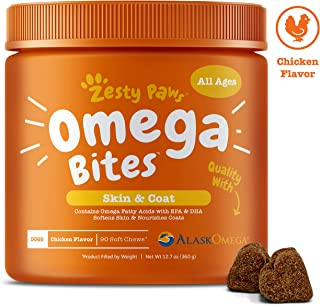 Zesty Paws Omega 3 Alaskan Fish Oil Chew Treats For Dogs - With Alaskomega For Epa & Dha Fatty Acids - For Shiny Coats & I...