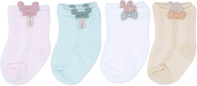 Baby Girl Socks, 4 Pairs, 0-6 months