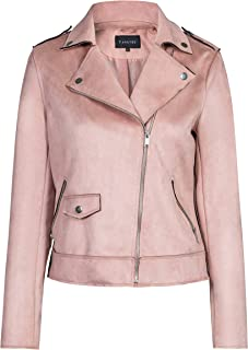 Women's Suede Jacket, Moto Biker Coat Faux Leather Casual Zip Up Soft Long Sleeve Outwear