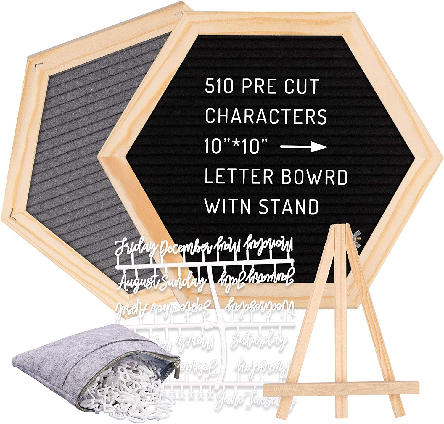 Whaline Double Sided Felt Letter Board Kit with 510 Letters Month Wooden Stand Felt Bag Felt Letter Board Hexagon Felt Letter Boardfor Home Baby Nursery School Classroom Teaching Tool Office