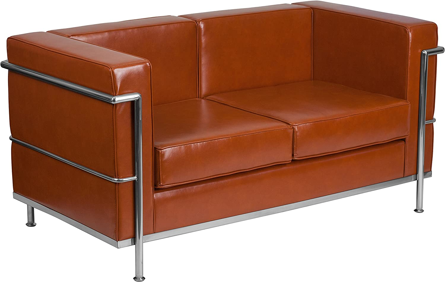 Flash Furniture HERCULES Regal Series Contemporary Cognac LeatherSoft Loveseat with Encasing Frame