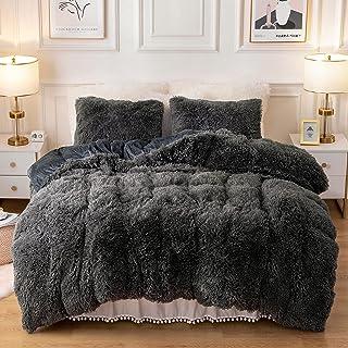 Plush Fluffy Duvet Cover Oeko-TEX Certified Luxury Ultra Soft Shaggy Crystal Velvet Bedding Set 3 Pieces(1 Duvet Cover + 2...