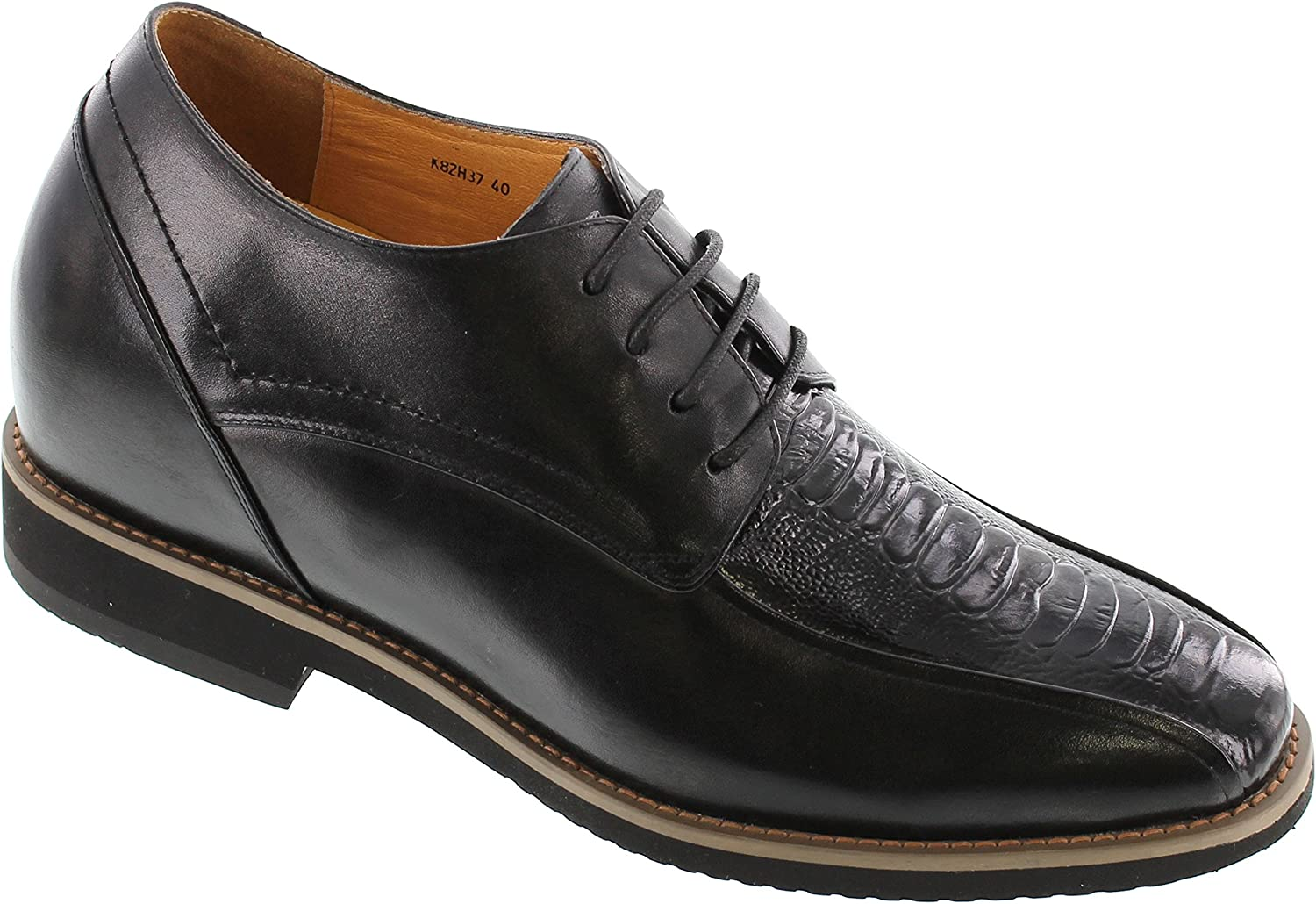 TOTO Men's Invisible Height Increasing Elevator Shoes - Black Two-Tone Leather Lace-up Formal Oxfords - 3.6 Inches Taller - H8237