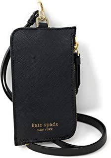 Kate Spade New York L-Zip Saffiano Leather Card Case Lanyard Black, Large